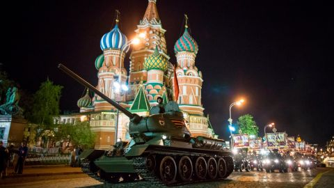 World War II era Soviet tanks T-34 makes their way through the Red Square with the St. Basil's Cathedral in the background, during a rehearsal for the Victory Day military parade on Thursday, May 3, 2018. The parade will take place at Moscow's Red Square on May 9 to celebrate 73 years of the victory in WWII. (AP Photo/Alexander Zemlianichenko)