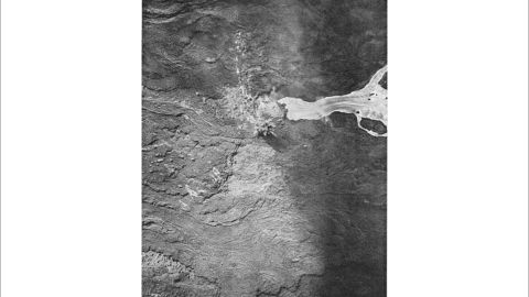 An aerial view of the Mauna Loa eruption in 1942. The lava flow was bombed in an effort to divert it.