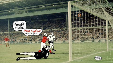 Did it cross the line? With the scores between England and West Germany level at 2-2 in the 1966 World Cup final, striker Geoff Hurst's shot hit the crossbar and deflected downwards. At first a goal wasn't given, but then allowed after consultation between the referee and linesman. The game ended 4-2, securing England's first and only World Cup victory.
