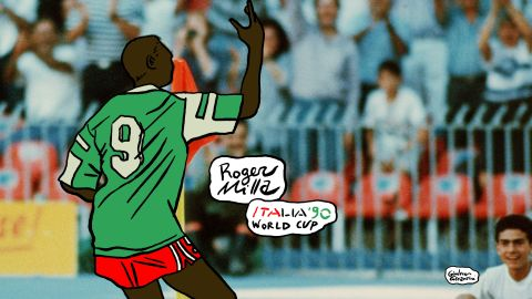 One of the greatest ever World Cup celebrations. Roger Milla turned on the style at the 1990 World Cup in Italy, which saw his Cameroon team reach the quarterfinals -- the furthest an Africa team has ever gone in the competition.
