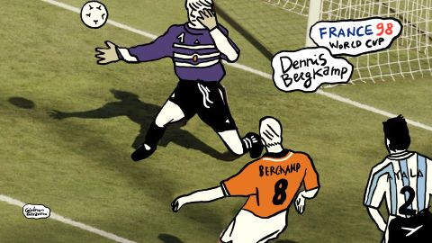 A Dutch master at work ... Dennis Bergkamp stops Frank de Boer's pass dead, transferring the ball to his left foot as he twists past Argentina's Roberto Ayala. His third touch, again with his right boot, flicks it past Carlos Roa, the keeper. Three perfect touches to take the ball from a speculative punt upfield to what remains one of the ultimate moments of skill ever displayed in a World Cup.