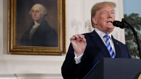President Donald Trump delivers a statement on the Iran nuclear deal from the Diplomatic Reception Room of the White House, Tuesday, May 8, 2018, in Washington. (AP Photo/Evan Vucci)