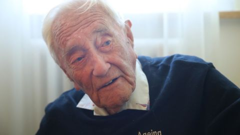 BASEL, SWITZERLAND - MAY 08:  Australian scientist and academic David Goodall, who is 104 years old, speaks with a Swiss doctor (not pictured) at the hotel where Goodall is staying two days before his planned assisted suicide on May 8, 2018 in Basel, Switzerland. Goodall said he made the decision because he had no other choice, as Australia does not allow assisted suicide. Goodall is being assisted by Exit International and plans to end his life on May 10.  (Photo by Sean Gallup/Getty Images)