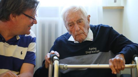 BASEL, SWITZERLAND - MAY 08:  Australian scientist and academic David Goodall (R), who is 104 years old, speaks with Swiss doctor Christian Weber at the hotel where Goodall is staying two days before his planned assisted suicide on May 8, 2018 in Basel, Switzerland. Goodall said he made the decision because he had no other choice, as Australia does not allow assisted suicide. Goodall is being assisted by Exit International and plans to end his life on May 10.  (Photo by Sean Gallup/Getty Images)