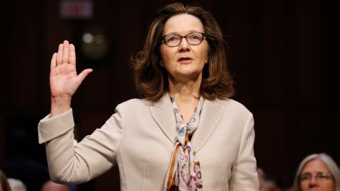 CIA nominee Gina Haspel is sworn in during a confirmation hearing of the Senate Intelligence Committee on Capitol Hill, Wednesday, May 9, 2018, in Washington. (AP Photo/Alex Brandon)