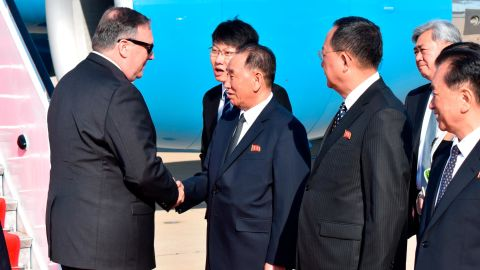 U.S. Secretary of State Mike Pompeo is shakes hands by senior North Korean official Kim Yong Chol, director of the United Front Department, which is responsible for North-South Korea affairs, upon his arrival to Pyongyang.