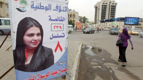 Sabah Abdul Rasul Al Tamimi's campaign banner in Baghdad in 2014.
