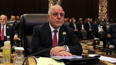 DEAD SEA, JORDAN- MARCH 29: Iraqi prime minister Haidar Al-Abadi attends during the Arab League summit in the Jordanian Dead Sea resort of Sweymah, Jordan, March 29, 2017. Arab leaders are set to meet in Jordan for their annual summit with no expected breakthrough on resolving conflicts or 'terrorism' in the region. ( Photo by Jordan Pix/ Getty Images)