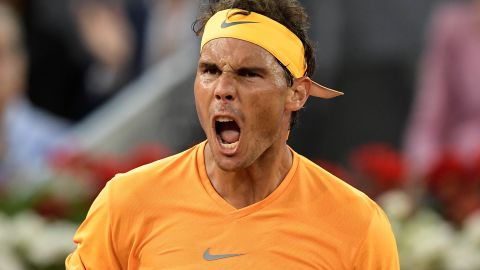 Spain's Rafa Nadal reacts as he plays against Argentina's Diego Schwartzman during their ATP Madrid Open round of 16 tennis match at the Caja Magica in Madrid on May 10, 2018. (Photo by OSCAR DEL POZO / AFP)        (Photo credit should read OSCAR DEL POZO/AFP/Getty Images)