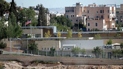 A partial view taken on April 30, 2018 shows the US consulate situated in the no man's land between West and East Jerusalem, which will be used as a temporary new US Embassy starting from on May 14, 2018, where US Embassador in Israel, David Friedman will move to and work from with his team.