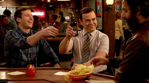 "Andy Samberg, Joe Lo Truglio and guest star Jason Mantzoukas in the ""Gray Star Mutual"" episode of ""Brooklyn Nine-Nine."""
