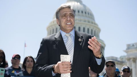 """Rep. Lou Barletta, R-Pa., speaks during a news conference on """"finding a win-win solution for both corn farmers and refinery workers, who face skyrocketing RINs (renewable identification numbers) prices under the renewable fuel standard,"""" on the east lawn of the Capitol on April 26, 2018. (Photo By Tom Williams/CQ Roll Call)"""