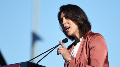 """Idaho State Rep. Paulette Jordan speaks during the Women's March """"Power to the Polls"""" voter registration tour launch at Sam Boyd Stadium on January 21, 2018 in Las Vegas, Nevada."""