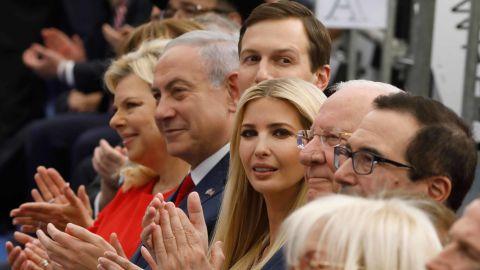 Benjamin Netanyahu (2nd L), his wife Sara Netanyahu (L), Jared Kushner (3rd L), Ivanka Trump (C) and US Treasury Secretary Steve Mnuchin (R) at Monday's ceremony.