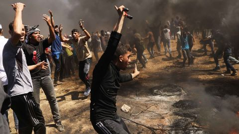 Palestinians protest in Gaza on Monday.