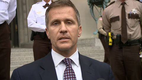 Missouri Gov. Eric Greitens speaks after his case was dismissed on Monday, May 14.