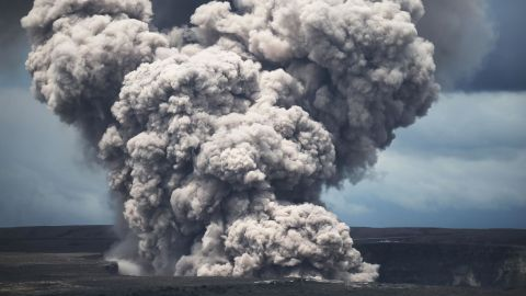 An ash plume rises from the Halemaumau crater within the Kilauea volcano summit caldera on May 9.