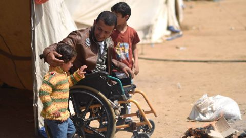 Fadi Abu Salameh is seen attending a protest in Gaza on April 2.