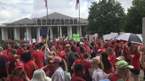 Educators rally outside North Carolina State Legislative Building on Wednesday, May 16, 2018.