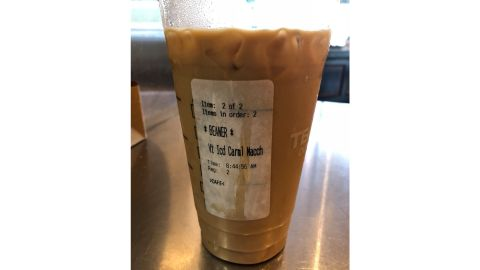 A Starbucks customer says she found this label on the cup of her Latino co-worker.