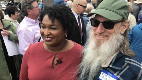 Stacey Abrams with a supporter in Dahlonega, Georgia.