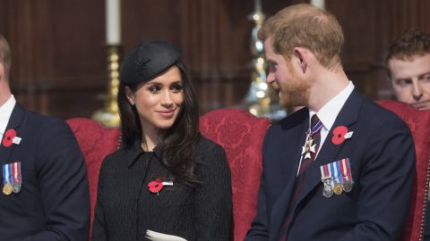 LONDON, ENGLAND - APRIL 25:  Meghan Markle and Prince Harry attend an Anzac Day service at Westminster Abbey on April 25, 2018 in London, England. (Photo by Eddie Mulholland - WPA Pool/Getty Images)