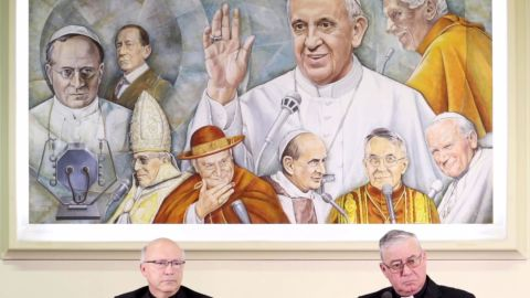 """In this videograb members of Chile's bishops conference Luis Fernando Ramos Perez (L) and Juan Ignacio Gonzalez give a press conference on May 14, 2018 in Vatican. Vatican tries to quell a sex abuse scandal that has rocked the Roman Catholic Church in Chile as Pope Francis admitted """"grave mistakes"""" in his handling of the abuse controversy in Chile. (Photo by Luca PRIZIA / AFP)        (Photo credit should read LUCA PRIZIA/AFP/Getty Images)"""