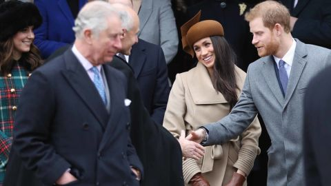 Meghan Markle attends a Christmas Day Service on December 25, 2017 with Prince Harry and members of the royal family, including Prince Charles (right).