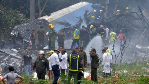 The scene at Havana's Jose Marti International Airport after a Cubana de Aviacion plane crashed Friday.