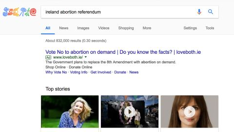 """One week after Google said it would """"pause all ads related to the Irish referendum on the Eighth Amendment,"""" some ads were still appearing in those searches. Google said they had """"taken action"""" after being showed this ad."""