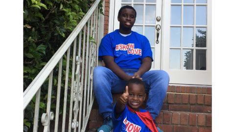 Austine Perine with his brother Taylor, age 16, who suffers from autism.