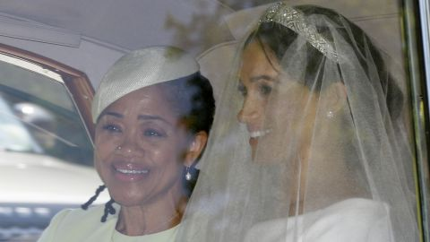 Meghan Markle, right, and her mother Doria Ragland leave Cliveden House Hotel in Taplow, near London, England, Saturday, May 19, 2018 where she stayed before Markle's wedding ceremony with Prince Harry at St. George's Chapel in Windsor Castle. (AP Photo/Tim Ireland)
