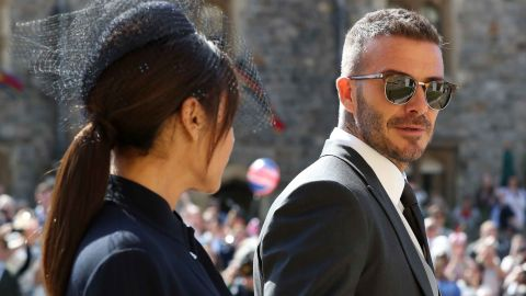 Royal wedding. David Beckham and Victoria Beckham arrive at St George's Chapel at Windsor Castle for the wedding of Meghan Markle and Prince Harry. Picture date: Saturday May 19, 2018. See PA story ROYAL Wedding. Photo credit should read: Gareth Fuller/PA Wire URN:36580728