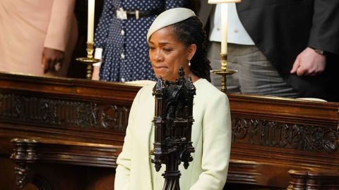 Meghan Markle's mother, Doria Ragland, takes her seat in St. George's Chapel for the wedding of her daughter and Britain's Prince Harry.