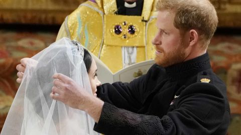 Royal wedding. Prince Harry and Meghan Markle in St George's Chapel at Windsor Castle during their wedding service. Picture date: Saturday May 19, 2018. See PA story ROYAL Wedding. Photo credit should read: Owen Humphreys/PA Wire URN:36584056