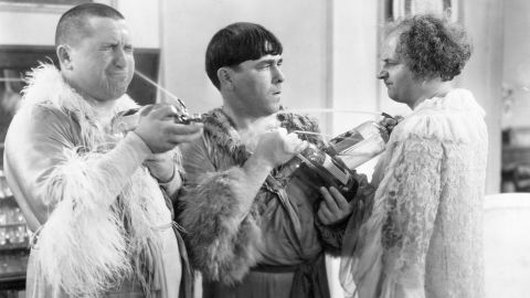 To say the Three Stooges comedy trio specialized in physical horseplay is an understatement. During their films of the 1930s, '40s and '50s, Curly Howard, left, his brother Moe Howard, center, and Larry Fine, right, artfully slapped themselves silly to make audiences laugh. Another Howard brother, Shemp, replaced Curly Howard after his death. Two other comics also spent time in the Stooges: Joe Besser and Curly Joe DeRita.