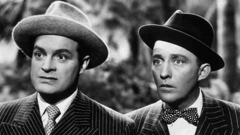 """Already successful as solo performers -- when Bob Hope, left, and Bing Crosby, right, teamed up as a duo they won fans by pretending to be rivals out to get each other. The pairing led to a string of """"road"""" movies beginning in the 1940s with titles like """"Road to Morocco."""" The road movies helped define the """"buddy comedy"""" film genre. Hope and Crosby often would speak directly to the camera -- aka -- """"breaking the fourth wall."""" """"When you break the fourth wall, you're basically inviting the audience in,"""" said comedian W. Kamau Bell. """"It's like these people aren't performing for you, you're hanging out with them."""""""