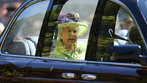 The Queen arrives for the wedding of her grandson Prince Harry and Meghan Markle in May 2018.