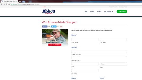 Gov. Greg Abbott's website still had a form to enter the shotgun giveaway up on Sunday morning.