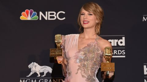 Taylor Swift poses in the Press Room during the 2018 Billboard Music Awards 2018, at the MGM Grand Resort International on May 20, 2018 in Las Vegas, Nevada.