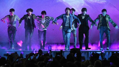 Korean boy band BTS performs onstage during the 2018 Billboard Music Awards at MGM Grand Garden Arena on Sunday.