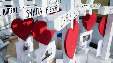 Crosses made by Greg Zanis for the victims of the Santa Fe High School shooting are seen at the high school, on May 21, 2018 in Santa Fe, Texas. (Photo by Brendan Smialowski / AFP)        (Photo credit should read BRENDAN SMIALOWSKI/AFP/Getty Images)