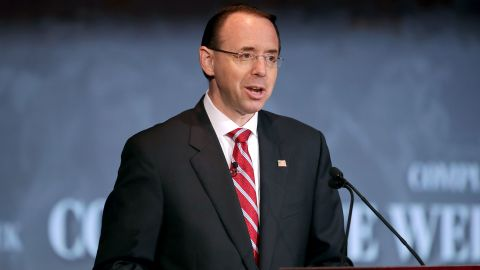 """WASHINGTON, DC - MAY 21:  U.S. Deputy Attorney General Rod Rosenstein delivers remarks on """"Justice Department Views on Corporate Accountability"""" during the The Annual Conference for Compliance and Risk Professionals at the Mayflower Hotel May 21, 2018 in Washington, DC. (Chip Somodevilla/Getty Images)"""
