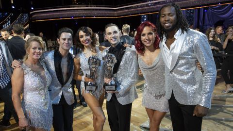 """DANCING WITH THE STARS: ATHLETES - """"Episode 2604"""" - After three weeks of stunning competitive dancing, the final three couples advance to the finals of """"Dancing with the Stars: Athletes,"""" live on MONDAY, MAY 21 (8:00-9:00 p.m. EDT), on The ABC Television Network. (ABC/Kelsey McNeal)TONYA HARDING, SASHA FARBER, JENNA JOHNSON, ADAM RIPPON, SHARNA BURGESS, JOSH NORMAN"""