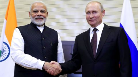 SOCHI, RUSSIA - MAY 21, 2018: India's Prime Minister Narendra Modi (L) and Russia's President Vladimir Putin shake hands during a meeting. Mikhail Metzel/TASS (Photo by Mikhail Metzel\TASS via Getty Images)