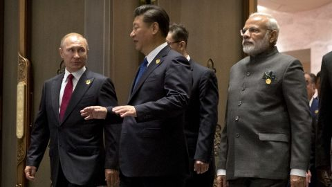 Russian President Vladimir Putin, Chinese President Xi Jinping and Indian Prime Minister Narendra Modi pictured on the sidelines of the 2017 BRICS Summit in Xiamen, southeastern China.