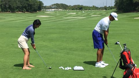 She also had the opportunity to meet her hero, Tiger Woods, and share a few holes with him in Florida.