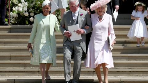 Meghan's mother Doria Ragland is pictured with Harry's father, Prince Charles and his wife Camilla in May 2018.