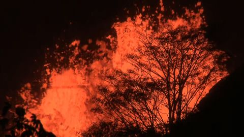 The lava erupts almost continuously, day and night.
