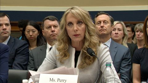 Former USA Gymnastics CEO Kerry Perry, who took over after Steve Penny and has since resigned, spoke before Congress as part of a House hearing hearing examining the Olympic community's role in sex abuse scandals on May 23, 2018.